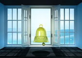 Open doorway with bell and winter landscape scene behind — Stock Photo