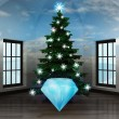 Heavenly room with diamond under glittering xmas tree — Stockfoto