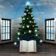 Heavenly room with story book under glittering xmas tree — Stock Photo