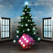 Heavenly room with lucky dice under glittering xmas tree — Stock Photo