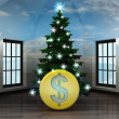 Heavenly room with Dollar coin under glittering xmas tree — Stock Photo