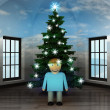 Stock Photo: Heavenly room with happy munder glittering xmas tree