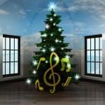 Постер, плакат: Heavenly room with holy sound under glittering xmas tree