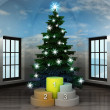 Heavenly room with champion pedestal under glittering xmas tree — Stok fotoğraf