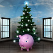 Heavenly room with happy pig under glittering xmas tree — Stock Photo
