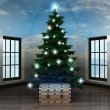 Heavenly room with magic chest under glittering xmas tree — Stock Photo