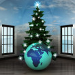Heavenly room with Africa world globe under glittering xmas tree — Stock Photo