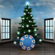 Heavenly room with poker chip under glittering xmas tree — Zdjęcie stockowe