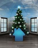 Habitación celestial con el icono de casa azul bajo el árbol de navidad brilla — Foto de Stock