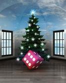 Heavenly room with lucky dice under glittering xmas tree — Stock Photo