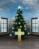 Heavenly room with golden cross under glittering xmas tree — Stock Photo