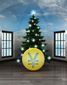 Heavenly room with Yuan coin under glittering xmas tree — Stock Photo