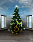 Heavenly room with holy sound under glittering xmas tree — ストック写真