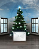 Heavenly room with winter message under glittering xmas tree — Stock Photo