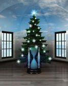 Heavenly room with hourglass under glittering xmas tree — Stock Photo
