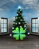 Heavenly room with cloverleaf happiness under glittering xmas tree — Stock Photo