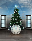 Heavenly room with stopwatch under glittering xmas tree — Stock Photo