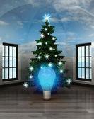 Heavenly room with blue shiny bulb under glittering xmas tree — Stock Photo