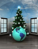 Heavenly room with America world globe under glittering xmas tree — Stock Photo