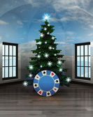Heavenly room with poker chip under glittering xmas tree — Foto de Stock