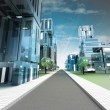 Stock Photo: New modern visualization of city street of future with sky