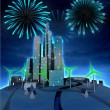 Firework above future city windmill green energy powered — Stock Photo #37838039