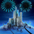 Stock Photo: Pyrotechnics above modern windmill powered city