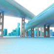 Two highways leading to modern skyscraper city render — Stock Photo #37838081