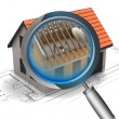 Chrome magnifying glass rentgen house construction detail — Stock Photo #37838225