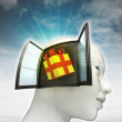 Gift surprise coming out or in human head with sky background — Stock Photo #37838407