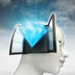 Diamond luxury coming out or in human head with sky background — Stock Photo