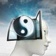 Soul harmony coming out or in human head with sky background — Stock Photo #37838449