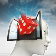 Lucky dice coming out or in human head with sky background — Stock Photo #37838453