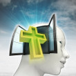 Holy cross religion coming out or in human head with sky background — Stock Photo