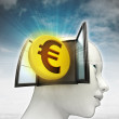 Euro coin investment coming out or in human head with sky background — Stock Photo #37838553