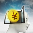 Yen coin investment coming out or in human head with sky background — Stock Photo