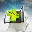 Health care coming out or in human head with sky background — Stock Photo