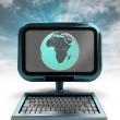 Blue metallic computer with Africa globe on screen isolated illustration — Stock Photo