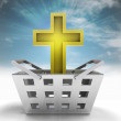 Stock Photo: Holy golden cross as trade merchandise with sky flare
