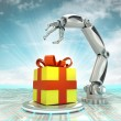 Stock Photo: Cybernetic robotic hand celebration with gift surprise with cloudy sky