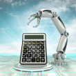 Stock Photo: Cybernetic robotic hand technological progress calculation with cloudy sky