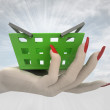 Stock Photo: Green shopping basket in women hand render