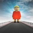 Stock Photo: Standing womon motorway track leading to introduction with sky flare
