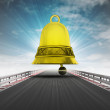 Race track way bell alarm announce to last lap with sky flare — Stock fotografie #37839515