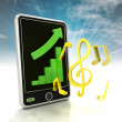 Increasing graph stats of music production on phone display with sky — Stock Photo #37839747