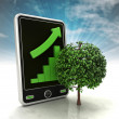 Increasing graph stats of tree production on phone display with sky — Stock Photo #37839785