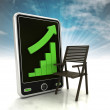 Increasing graph of furniture production on phone display with sky — Stock Photo #37839883