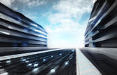 Futuristic city street in information age wallpaper — Stock Photo