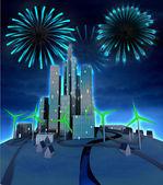 Firework above future city windmill green energy powered — Stock Photo
