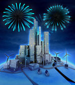 Pyrotechnics above modern windmill powered city — Stock Photo